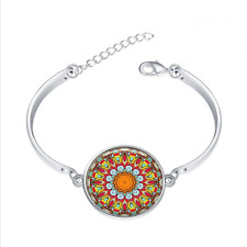 Mandala Boho glass cabochon Tibet silver bangle bracelets wholesale