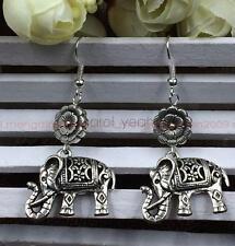 Original handmade Tibet silver hollow lucky elephant flower earrings women new