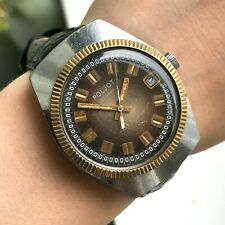 Retro Automatic POLJOT Brown Bicolored Soviet Watch USSR Barrel Date Men's Rare