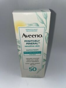 Aveeno Positively Mineral SPF 50 Sunscreen Sensitive Skin 2.0 fl oz New