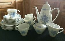 Vintage Hutschenreuther Porcelain BLUE FLORAL Coffee Tea Lunch Brunch Set 23 Pcs