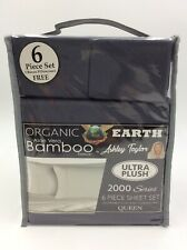 Organic Earth Aloe Vera Bamboo 6 Piece Sheet Set (Queen,TEAL BLUE) Ashley Taylor