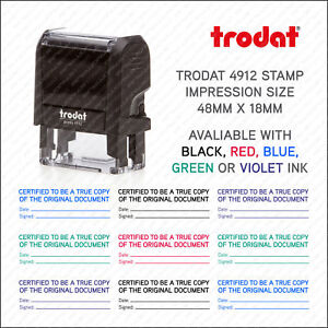 Certified Copy Legal Self Inking Rubber Stamp - 48mm x 18mm - Trodat 4912