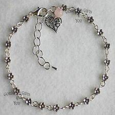 Daisy Chain Flower Rose Quartz Filigree Heart Gemstone Anklet / Ankle Bracelet
