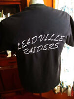 LARGE True Vtg 90s LEADVILLE COLORADO RAIDERS EMBROIDERED GRAPHIC T-shirt BLACK