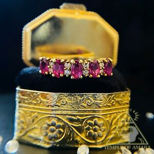 14k Yellow Gold Ruby Ring Designer Effy Ruby and Diamond Ring TOP QUALITY