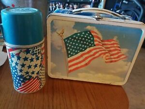 AMERICAN FLAG LUNCH BOX metal vintage fireworks Ohio Art 1970's VG w/thermos