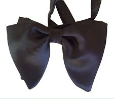 Classic Silk Satin Handmade Retro Droopy Pre-tied Wedding Tuxedo Black Bow-tie