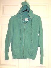 OLD NAVY Women's Cute Knit Sweater Full Zip Hoodie Jacket Sea Green Size L EUC