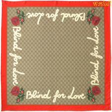 "GUCCI beige Original GG Blind for Love 34"" silk twill scarf NWT Authentic $470!"