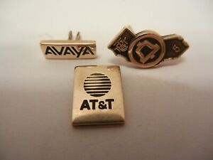 SET OF 3 AT&T AVAYA & PACIFIC TELEPHONE PIN TIE 10K YELLOW GOLD INSIGNIA EMBLEM