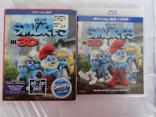 The Smurfs in 3D (3D/2D Blu-ray/DVD, 2011, 2-Disc Set) w/ Lenticular Slip-Cover