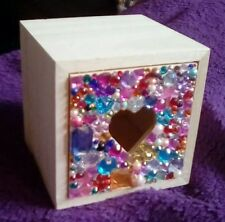 WOODEN TRINKET BOX DRAWER (HEART CUT OUT) - GEM ENCRUSTED FRONT 9x9x9cm see pics
