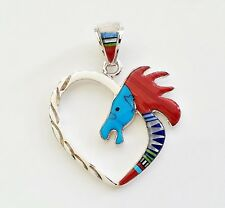 ADORABLE HEART/HORSE HEAD .925 SILVER PENDANT IN TURQUOISE/MULTICOLOR INLAY