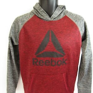Reebok Athletic Hoodie Youth L 14/16 Hooded Pullover Track Sweatshirt Red & Gray