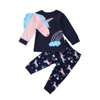NEW Unicorn Girls Blue Long Sleeve Shirt & Pants Outfit Set 2T 3T 4T 5T