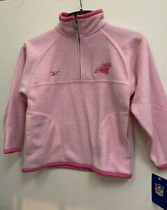 Carolina Panthers NFL Reebok Girls 1/4 Zip Pink Fleece Jacket Size XL 16