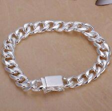 Men's 39g 21cm Silver Plated Cuban Link Bracelet