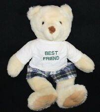 White Teddy Bear Animal Works PLUSH STUFFED with outfit Plaid Shorts Shirt Soft
