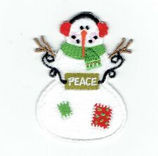 Iron On Embroidered Applique Patch - Christmas/Winter - Snowman Peace Sign