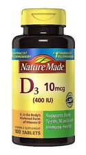 Sealed Nature Made Vitamin D3 400 IU Dietary Supplement - 100 Tablets, late 2020