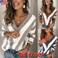 Women V-Neck Striped Knit Sweater Ladies Long Sleeve Casual Pullover Tops Blouse