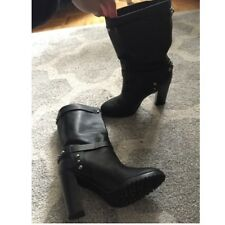 Women's Black Polo Ralph Lauren Studded Leather Boots
