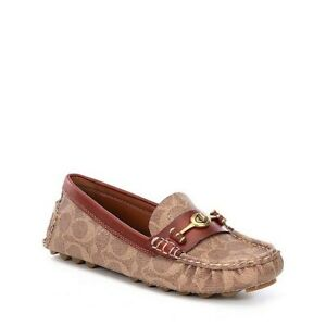 COACH Womens Crosby Driver Loafers,  Moccasins Tan/Rust leather Size 7B