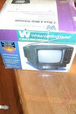 Vintage White Westinghouse 5'' black and white television Tv Model Wt-3500