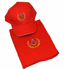 Red  Masonic Baseball Cap & Scarf  end of Line Offer to Clear now only £12.50