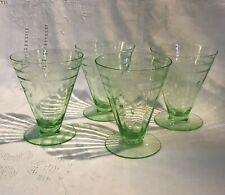 4 - ICED TEA GLASS Tiffin Depression Elegant Green Pillar Optic Gray Cut Floral