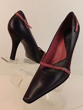 NWB KENNETH COLE PURPLE LEATHER POINTED TOE PINK LTH BELTED PUMPS 8.5 BRAZIL