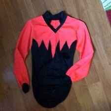 VINTAGE 80s Ice Skating Leotard Bodysuit Women Neon Orange Dance Costume S 2 4