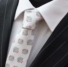 Tie Cravatta Sottile Bianco Puro Con Grigio & Rosso Bird qualità cotone T6203