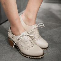 Women Oxford Creeper Lace Up Brogue Wingtip Flats Cuban Block Heel Casual Shoes