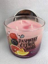 Bath & Body Works Raspberry Citrus Swirl 3 wick 14.5 oz candle layered wax 2016
