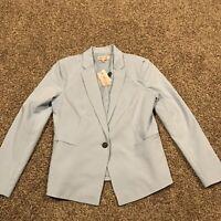 philosophy Clothing Womens Size 12 Light Blue Blazer Cotton Blend NWT A48