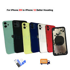 For iPhone XR look like iPhone 12 Back Door Metal Glass Battery Housing Cover