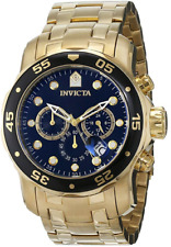 Invicta Men's 0072 Pro Diver Collection Chronograph 18k Gold-Plated Watch / NEW