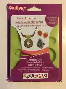 New! Sculpey Bakeable Silicone Mold: Cabochon Shapes APM81 Round Tear Drop Dough