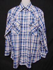 LEVIS Vintage 70s/80s Mens Western Style Shirt L/Large Plaid Pearl Snaps Cowboy