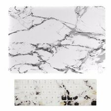 "Marble White Rubberized Case + Keyboard Skin for Macbook Pro 15"" A1707 Touch Bar"