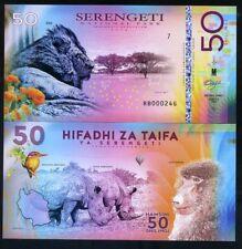Tanzania, Serengeti National Park, 50 Shillings, Polymer, 2018 - Lion, Rhino