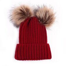 Mom&Newborn Baby Winter Warm Boy Girl Hat Crochet Knit Hairball Beanie Cup