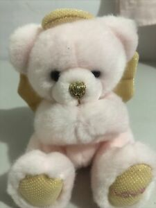 "Russ Berrie Pink Gold Angel Love Bear Plush 5"" Teddy"