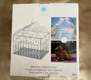 Wedding - Bridal birdcage card holder. Made of Metal. White color