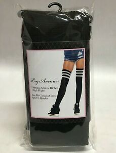 Striped Athletic Ribbed Thigh High Leg Avenue Black White Schoolgirl Costume