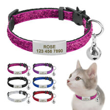Bling Sequins Cat Breakaway Collar with Bell Free Engraved Safety Buckle 6 Color