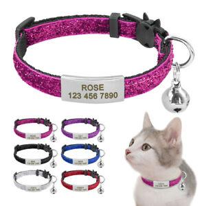 Sequins Cat Breakaway Collar&Slide On Tag Quick Release for Pet Dog Kitten&Bell
