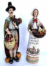 Thanksgiving Décor Autumn Harvest Pilgrim Couple Figurines Religious Resin?